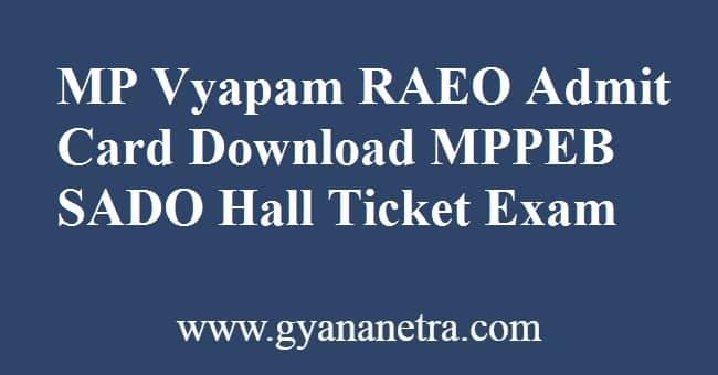 MP Vyapam RAEO Admit Card Exam Date