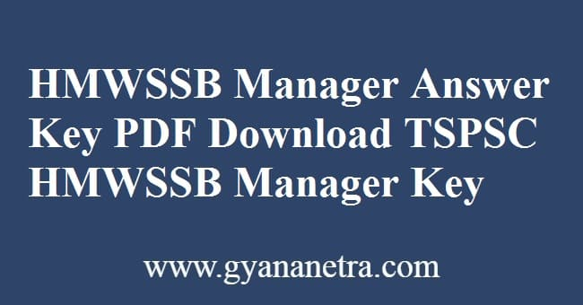 HMWSSB Manager Answer Key PDF