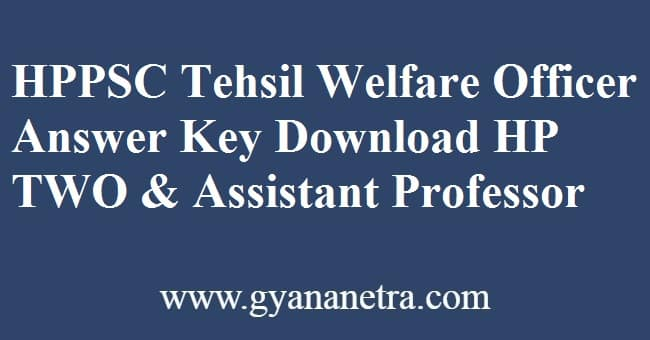 HPPSC Tehsil Welfare Officer Answer Key PDF