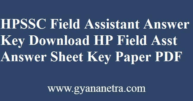 HPSSC Field Assistant Answer Key PDF Download