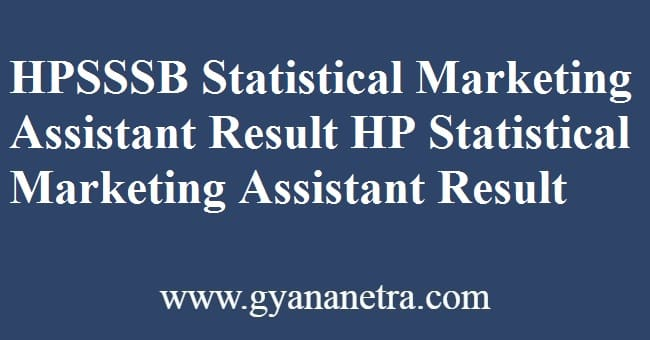 HPSSSB Statistical Marketing Assistant Result Check