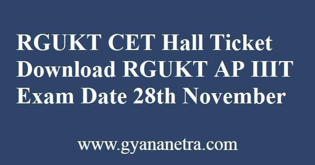RGUKT CET Hall Ticket Download