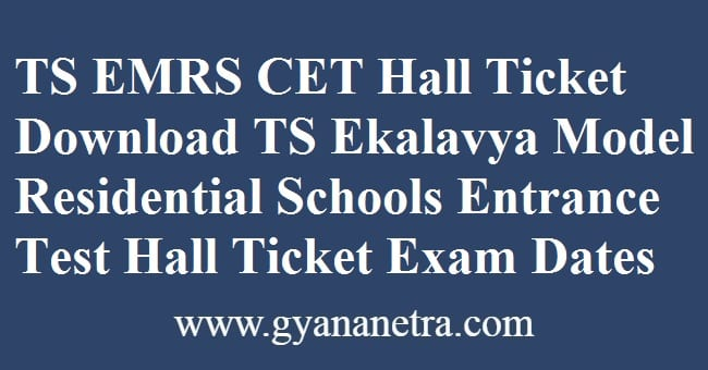 TS EMRS CET Hall Ticket Download