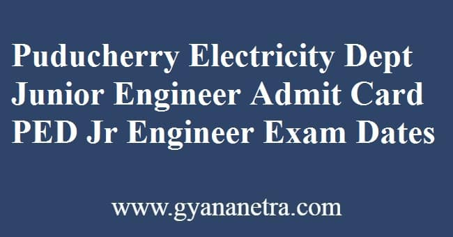 Puducherry Electricity Department Junior Engineer Admit Card