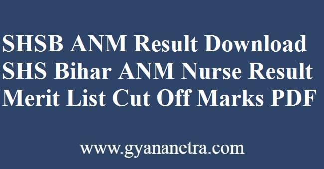 SHSB ANM Result Merit List