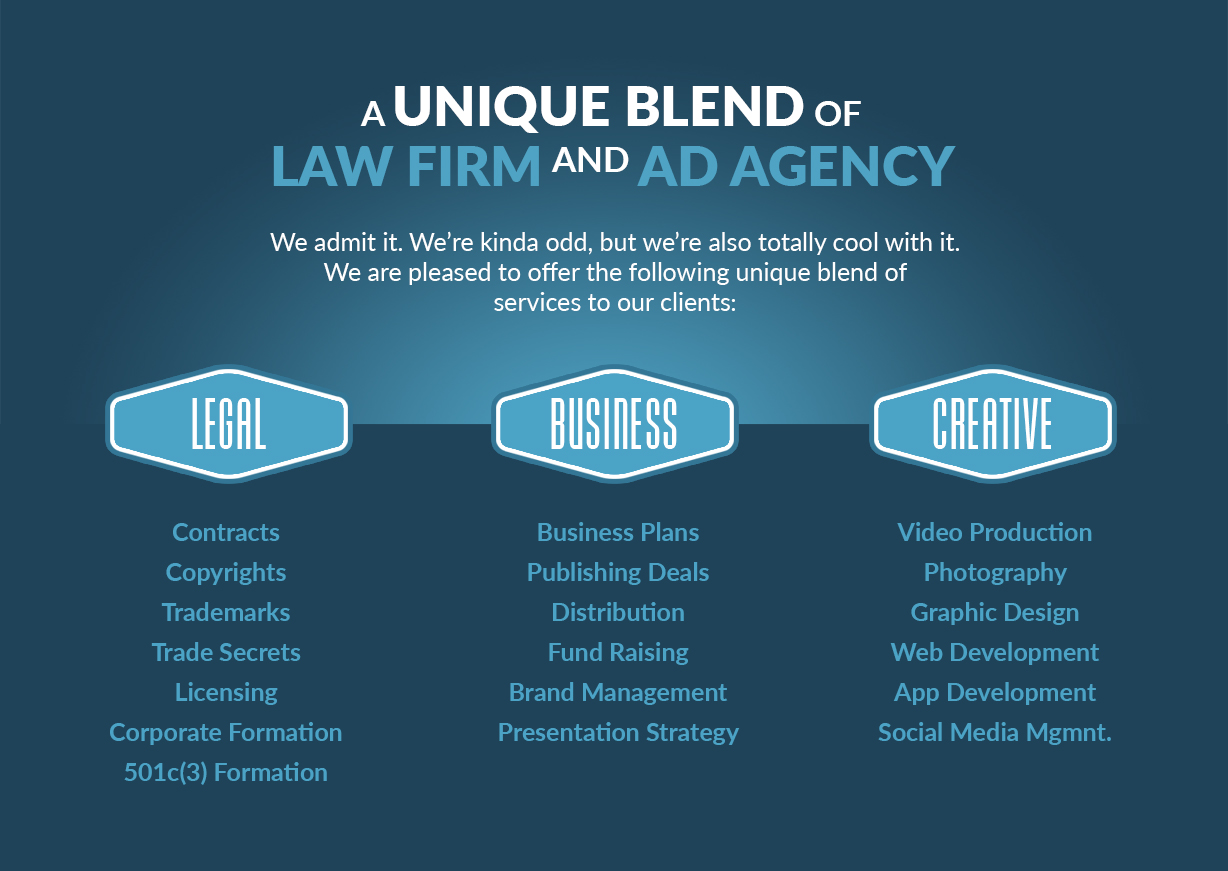 Image of Frascogna IP Services. A unique blend of law firm and ad agency. We admit it. We're kinda odd, but we're also totally cool with it. We are pleased to offer the following unique blend of services to our clients. LEGAL: Contracts, Copyrights, Trademarks, Trade Secrets, Licensing, Corporate Formation, 501c(3) Formation. BUSINESS: Business Plans, Publishing Deals, Distribution, Fund Raising, Brand Management, Presentation Strategy. CREATIVE: Video Production, Photography, Graphic Design, Web Development, App Development, Social Media Management.