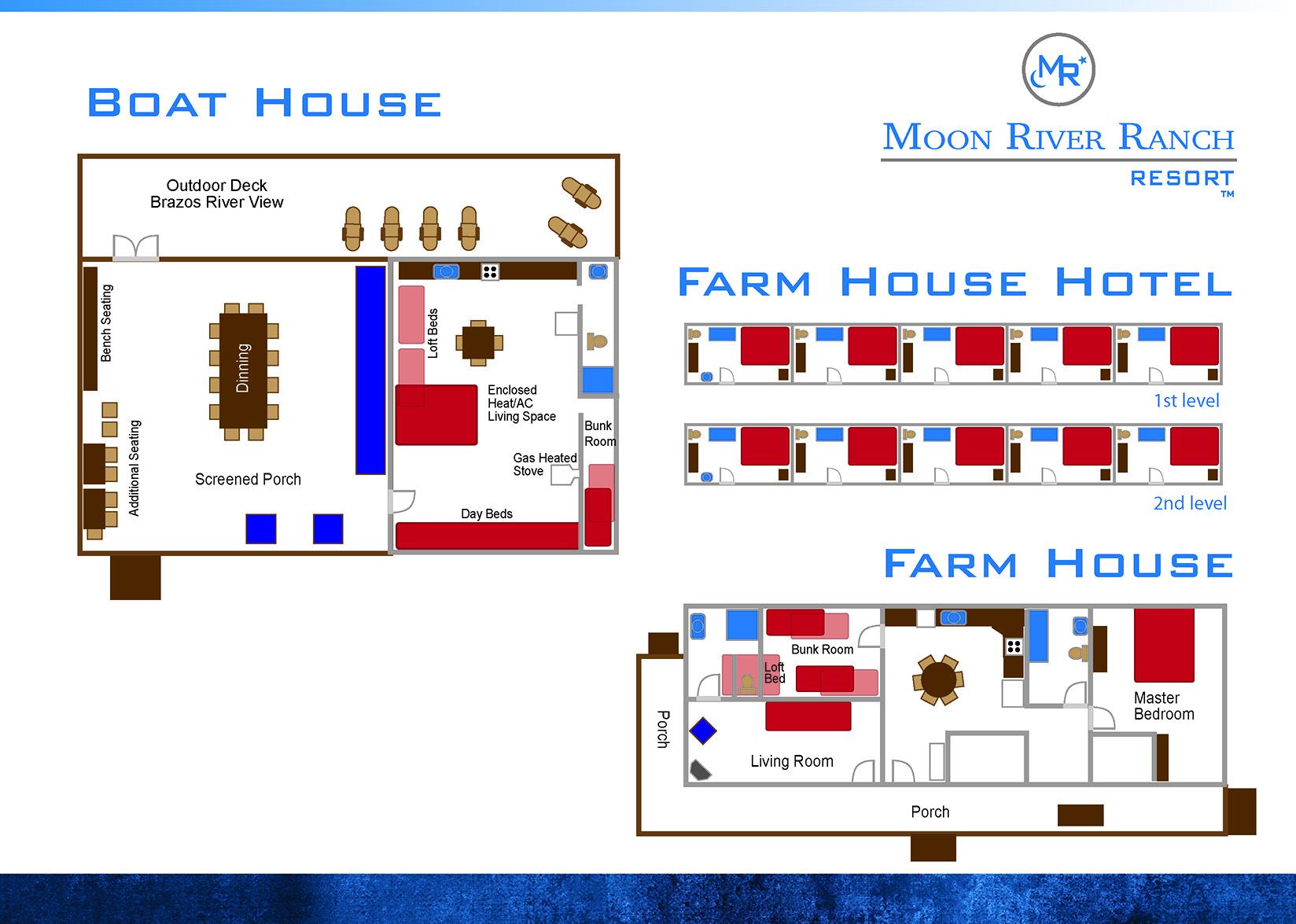 boat house farm house and hotel floor plans