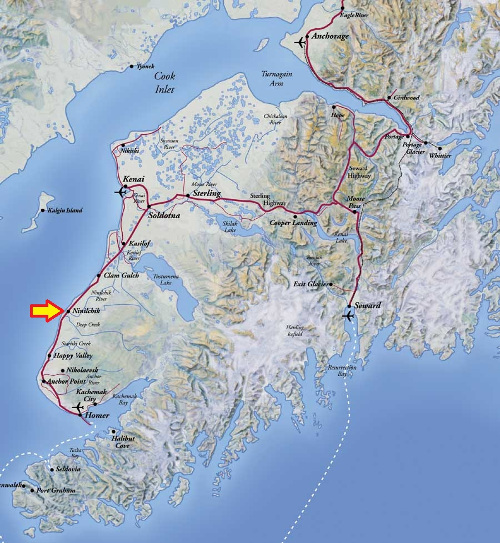 A map of the Kenai Peninsula Alaska showing our location in Ninilchik