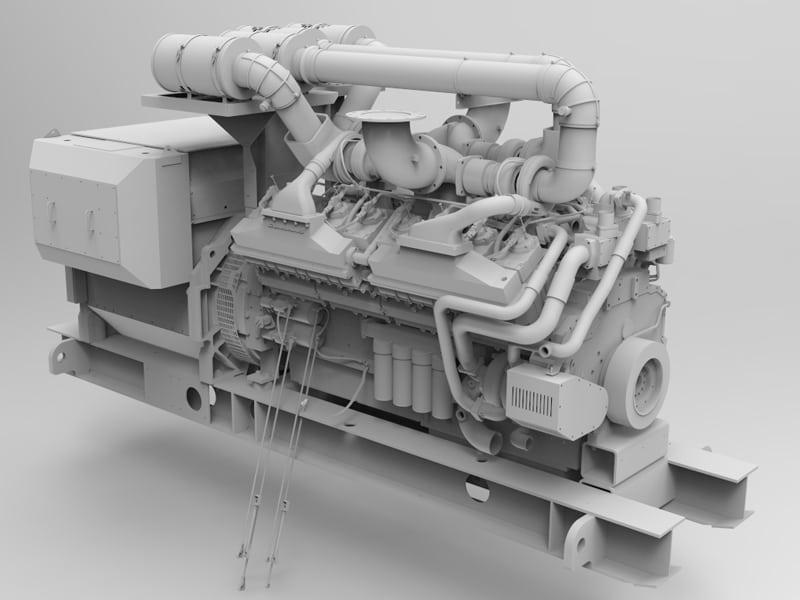 3D model of a generator set or genset