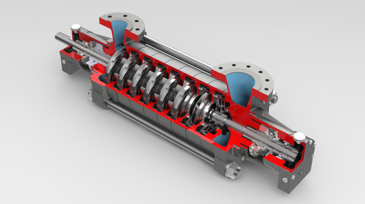 3D technical illustration of pump cut in half