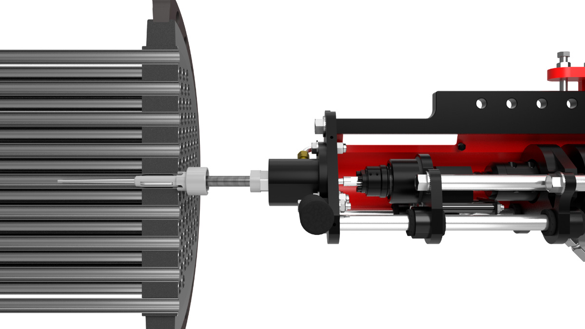technical animation of tube rolling system