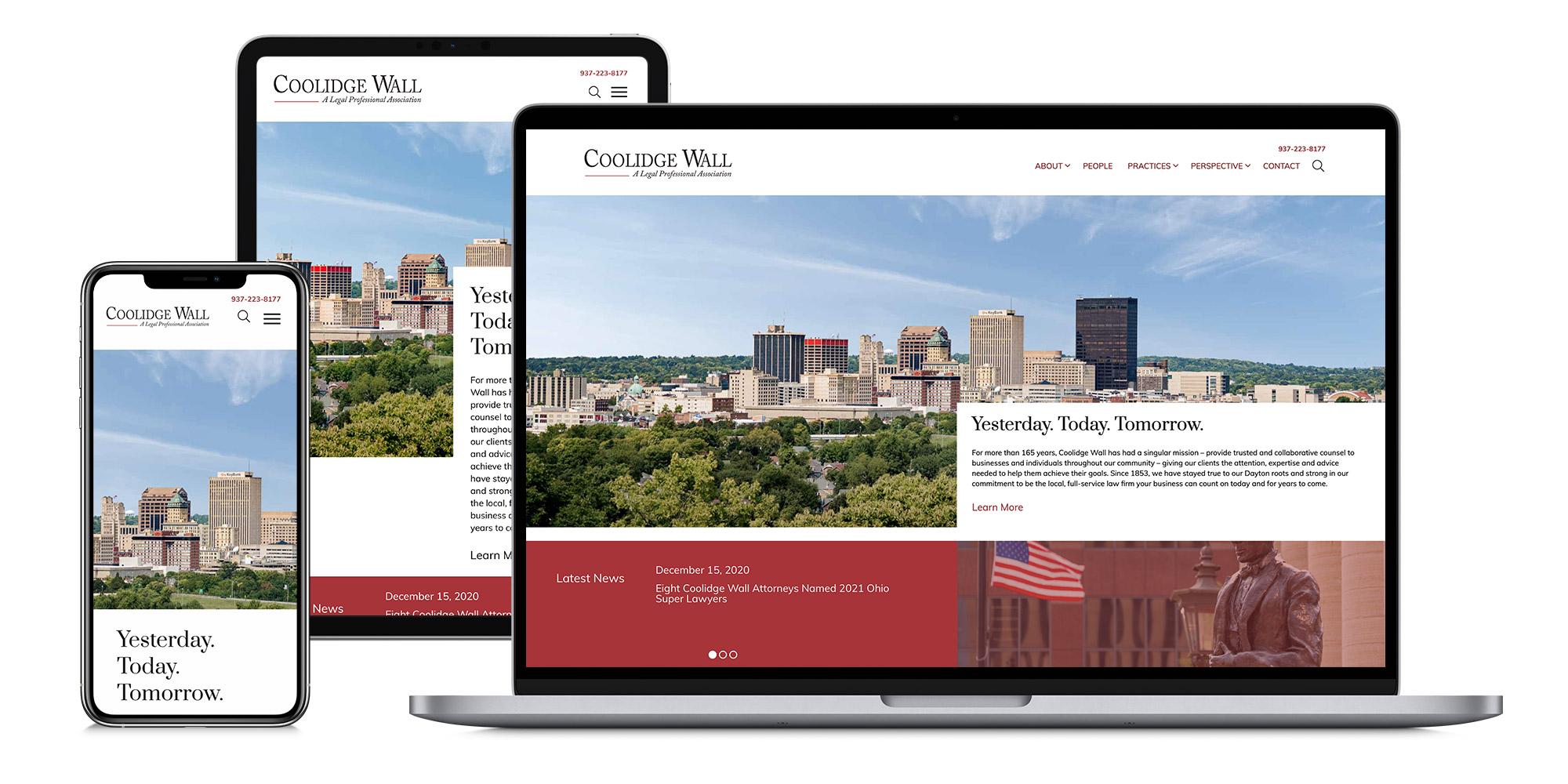 Coolidge Website on Mobile, Tablet, and Desktop