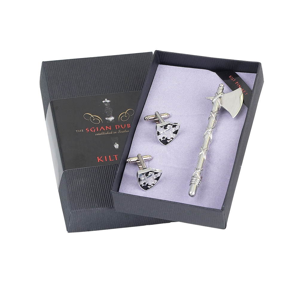 Axe Kilt Pin & Shield Cufflink Set