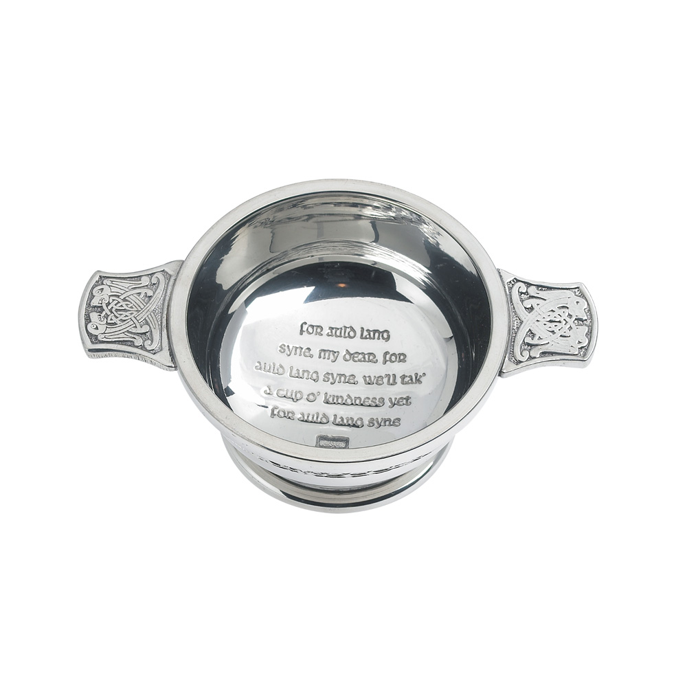"""3"""" Auld Lang Syne Pewter Quaich"""