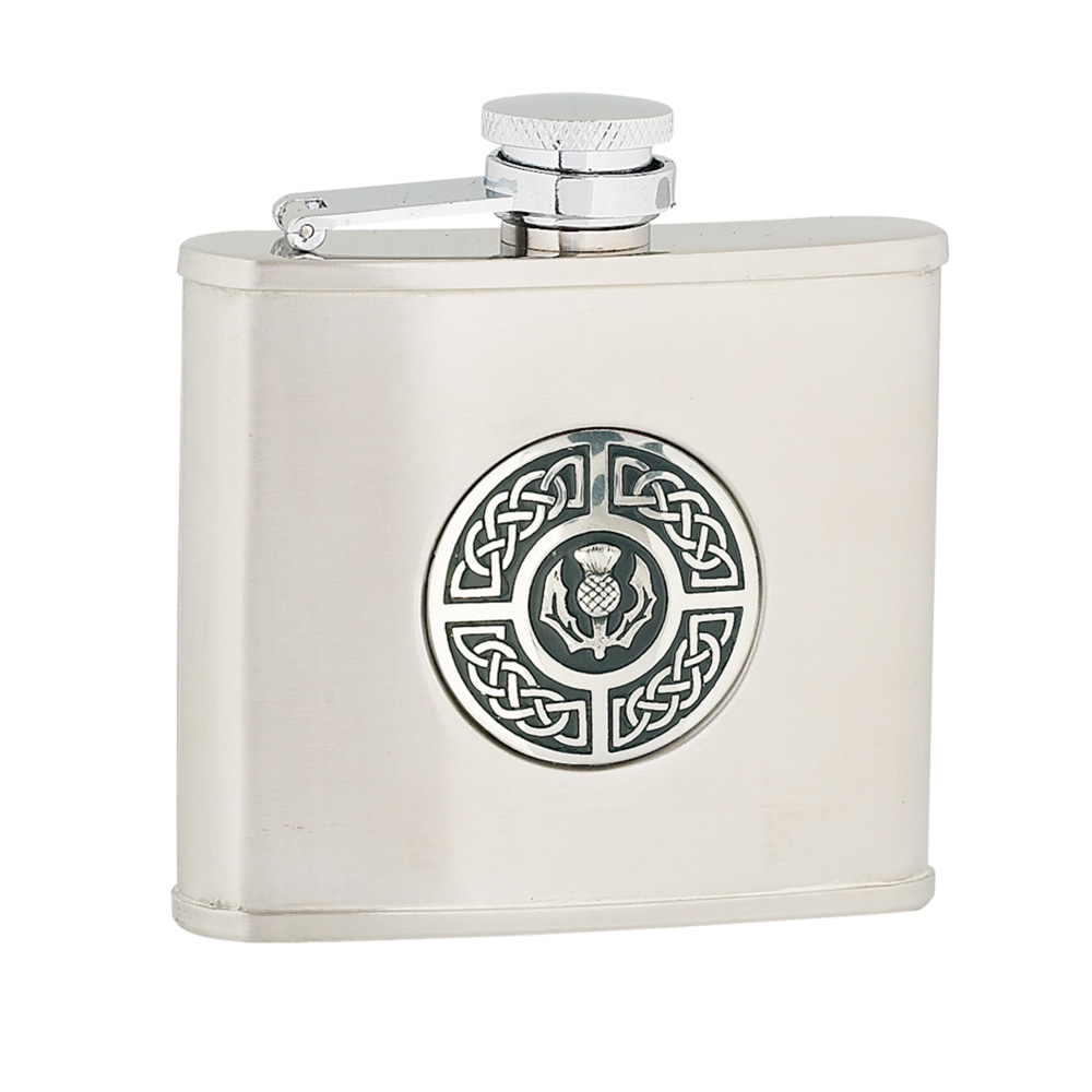 4oz Celtic & Thistle Stainless Steel Flask