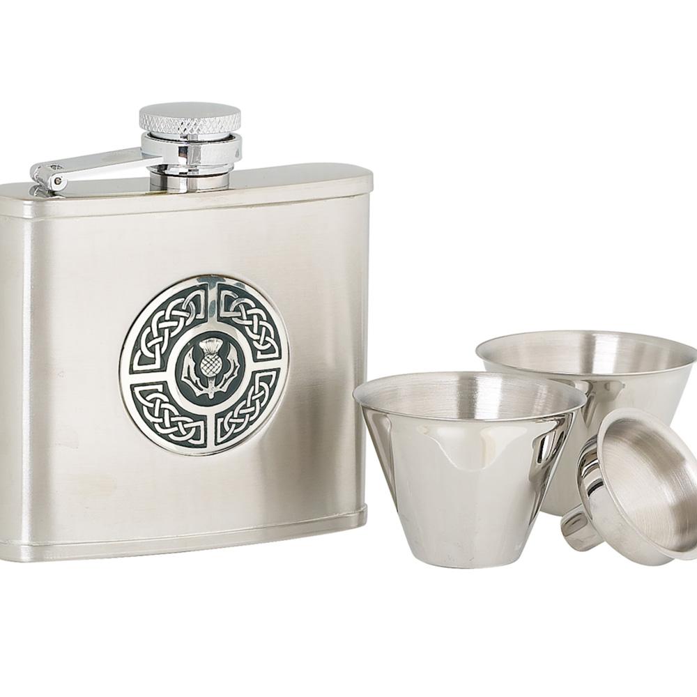 4oz Celtic & Thistle Stainless Steel Flask Set