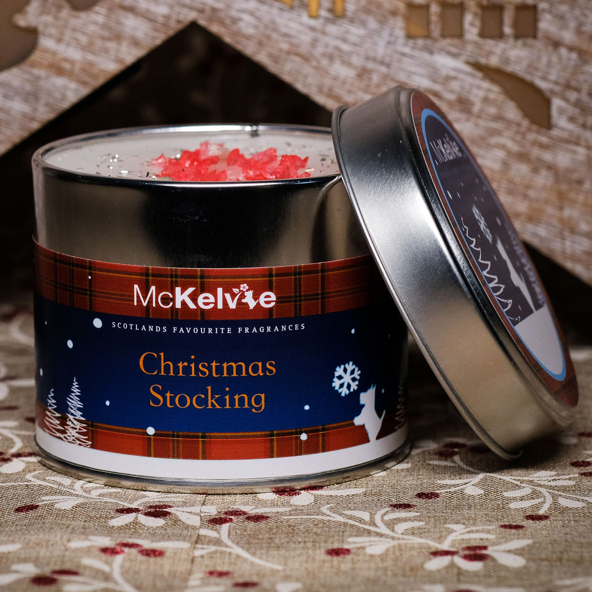 Christmas Stocking Scented Candle Tin