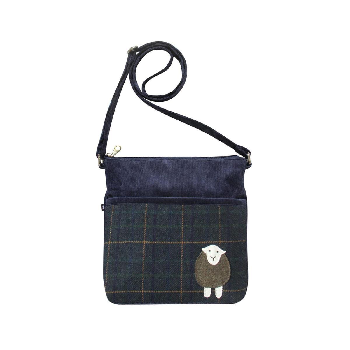Navy Highland Friends Tweed Amelia Bag