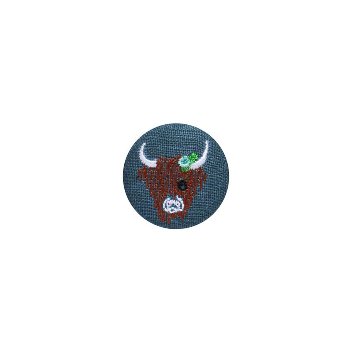 Blue/Grey Highland Cow Badge