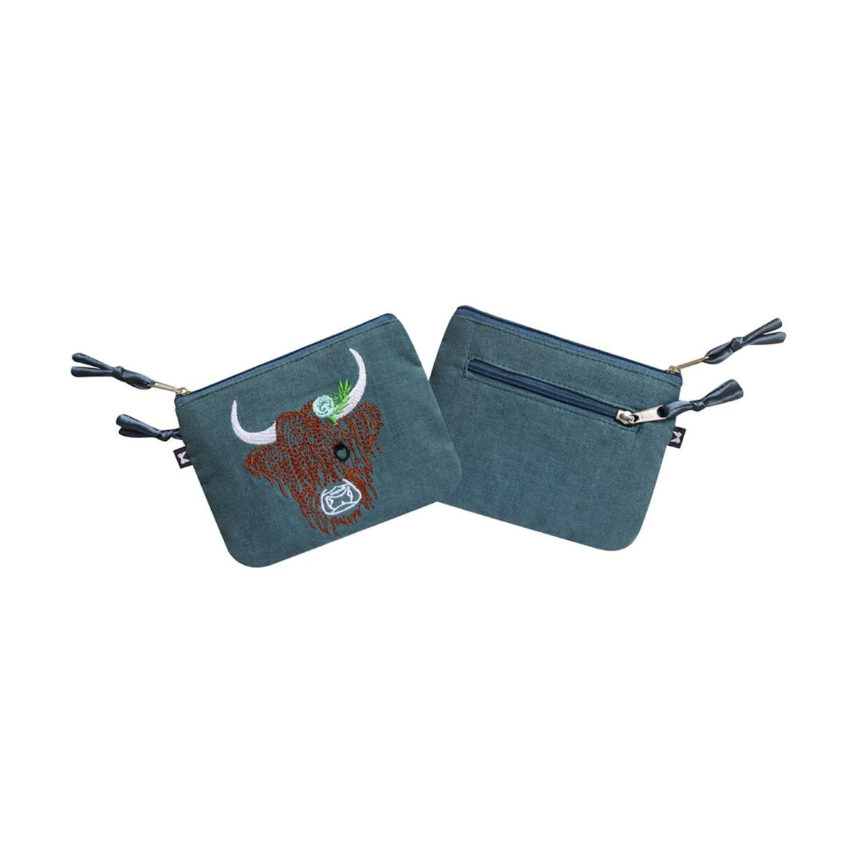 Blue / Grey Highland Cow Purse
