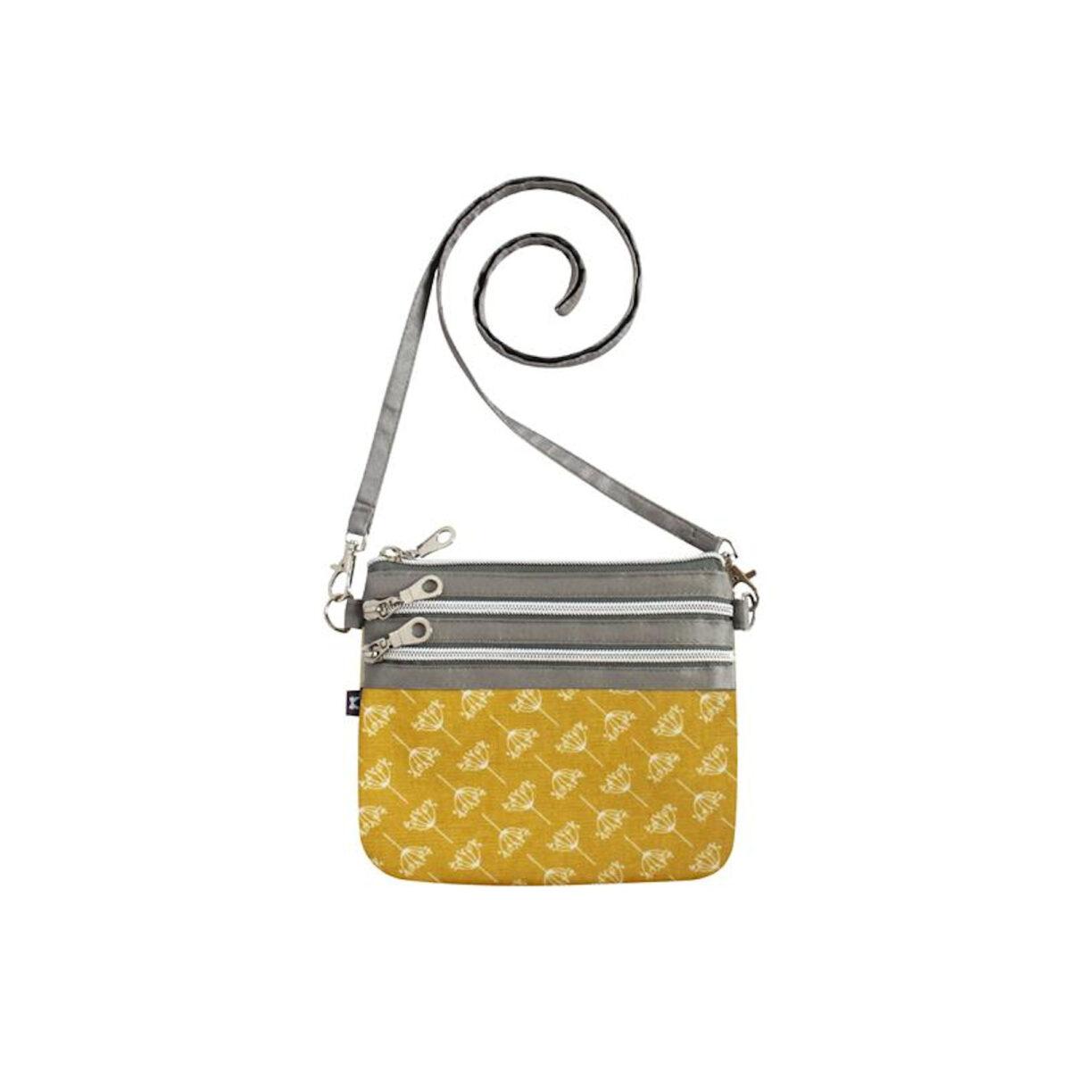 Dandelion Mustard Oil Cloth 3 Zip Pouch Bag