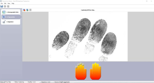 A screenshot of inVizeID taking a left type 4 fingerprint capture