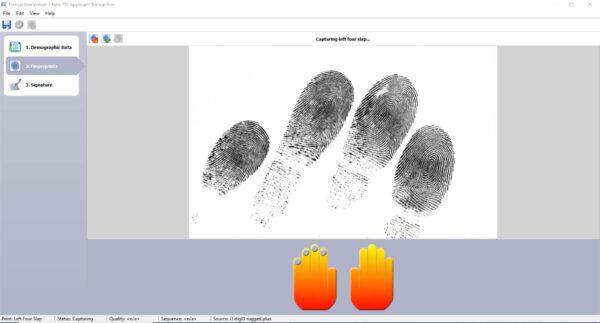 A screenshot of inVizeID taking a left type 4 fingerprint capture