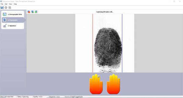 A screenshot of inVizeID taking a left index finger roll