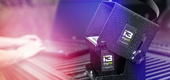 An image of a digID rugged+ with police lights shining
