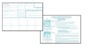 A photo of FBI FD-258 fingerprint card front and back