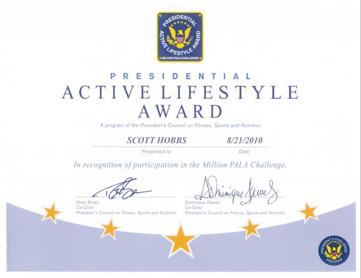 PRESIDENTIAL ACTIVE LIFESTYLE AWARD