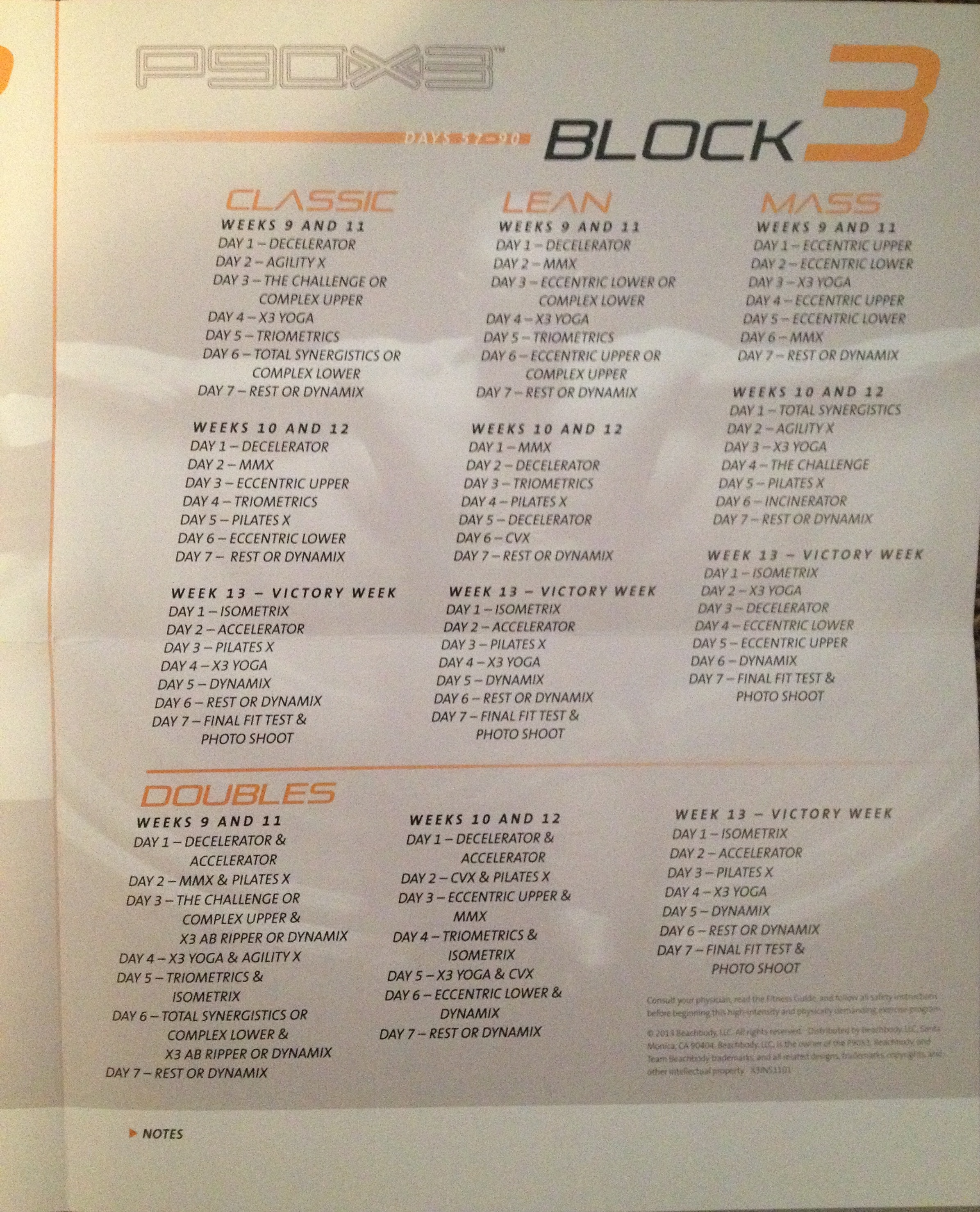 P90X3 Calendar- All Details You Need About P90X3