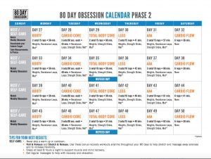 80 day obsession phase 2 calendar, phase 2 80 day obsession