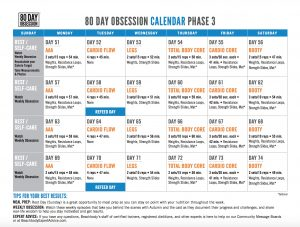 80 day obsession calendar, 80 day obsession