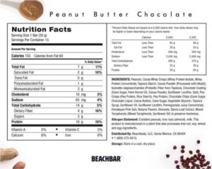 beachbar nutrition label, beachbar nutrition facts, beachbar facts, beachbar label, peanut butter chocolate