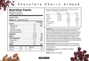 chocolate cherry almond, beachbar nutrition label, label beachbar, beach bars label nutrition