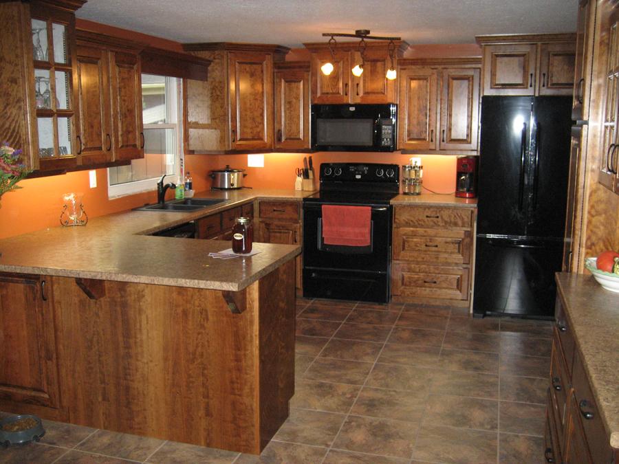 Cherry kitchen cupboards