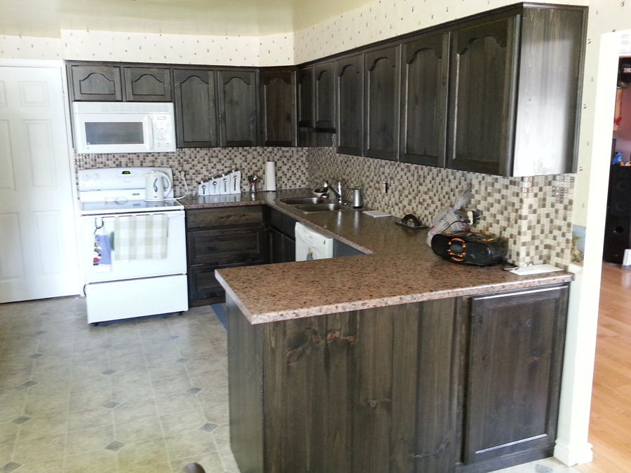 Pine kitchen cupboards