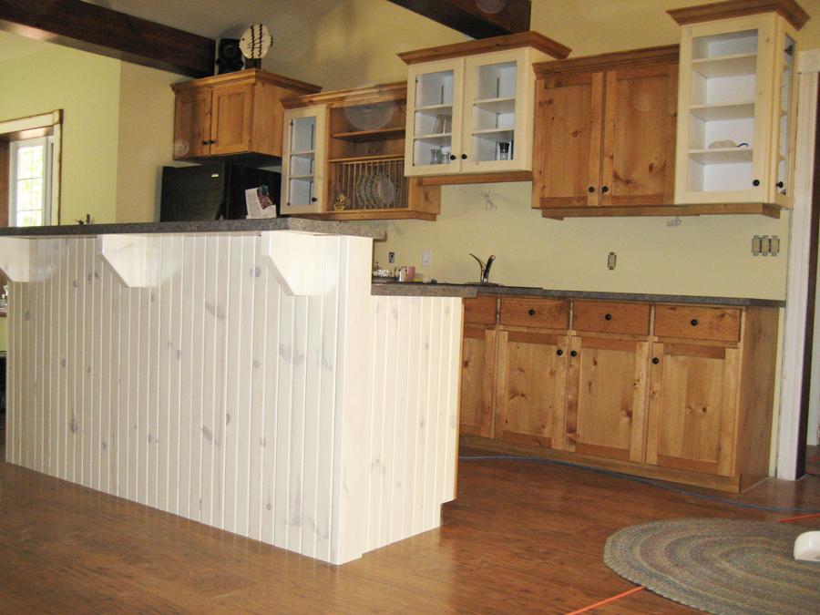 Pine painted kitchen cupboards