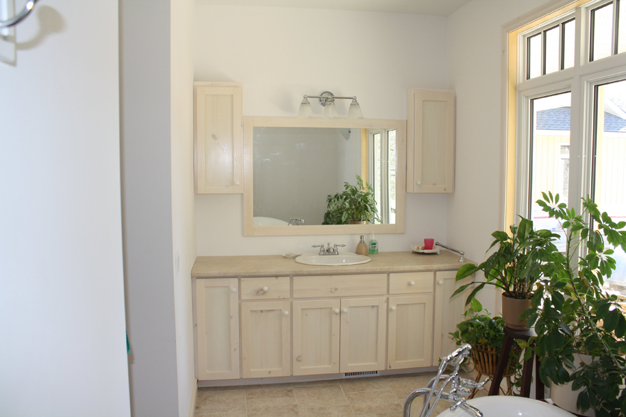 white painted vanity
