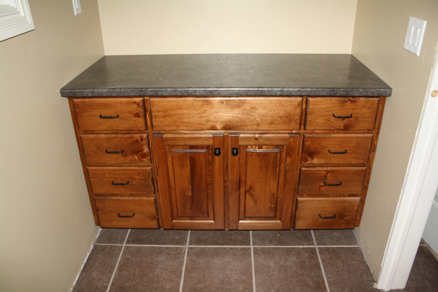 Pine stained vanity