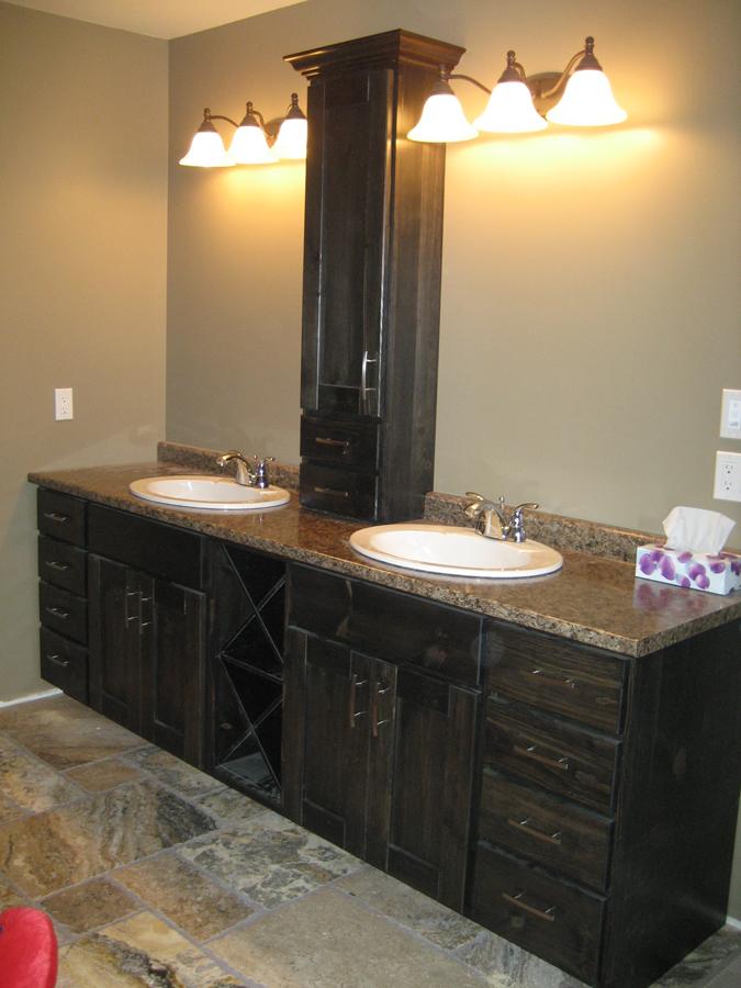 dark stain vanity dual sinks