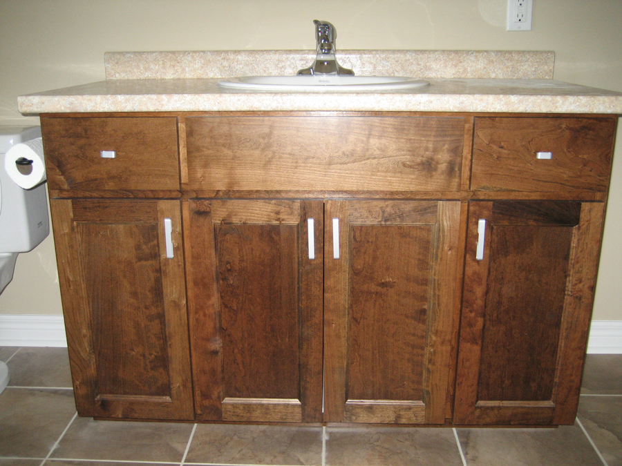 Cherry cupboards bathroom sink