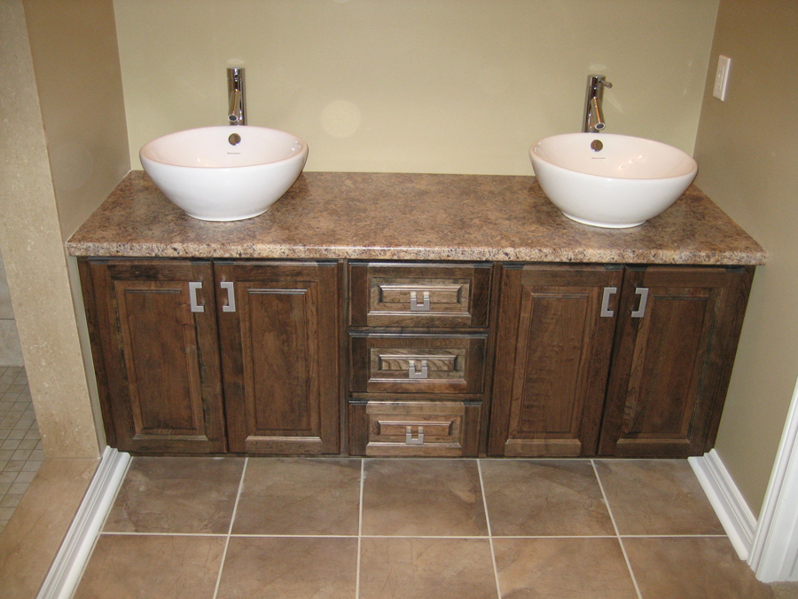 double bowl sinks cherry cupboards