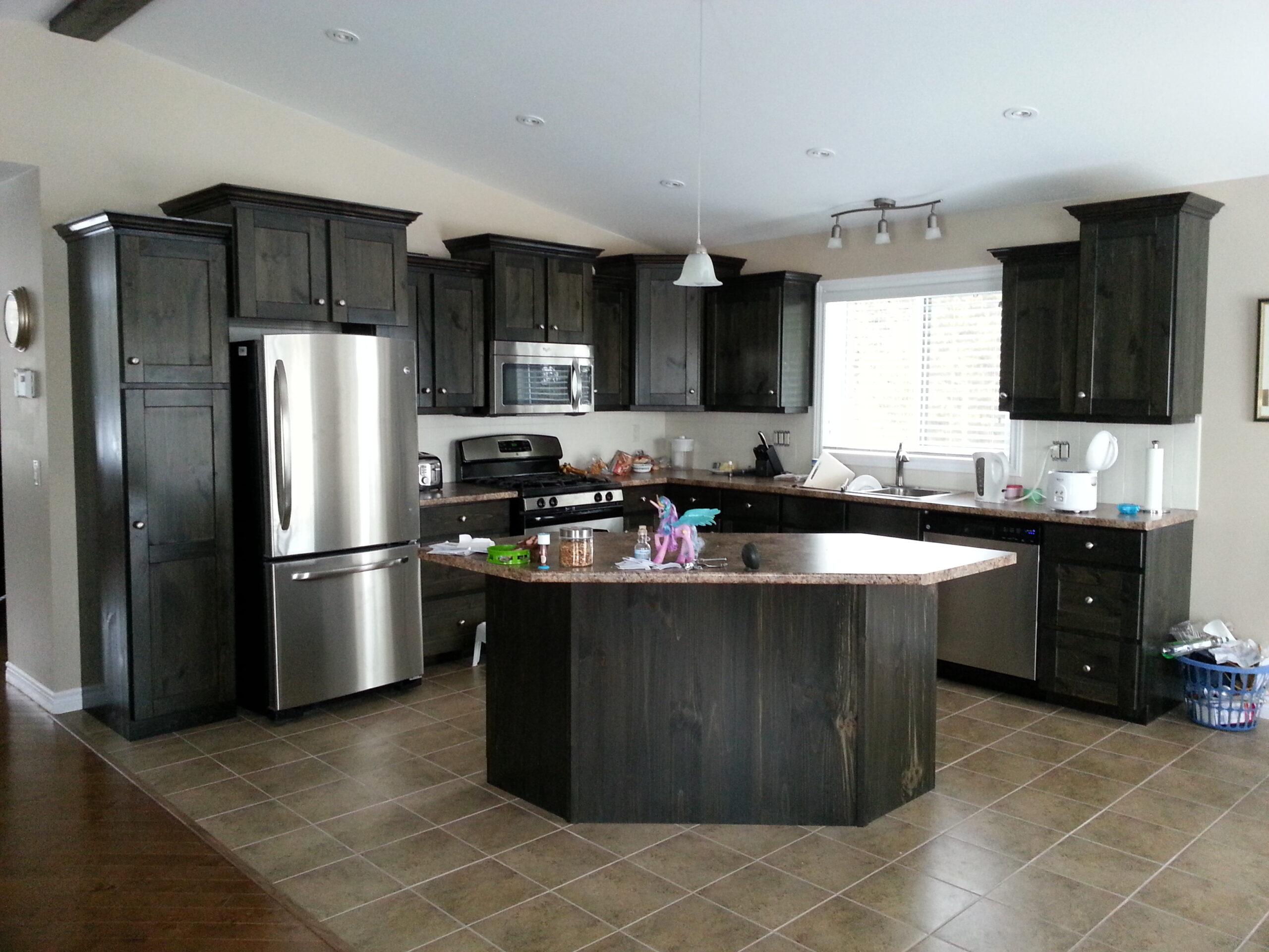 Pine dark stain kitchen
