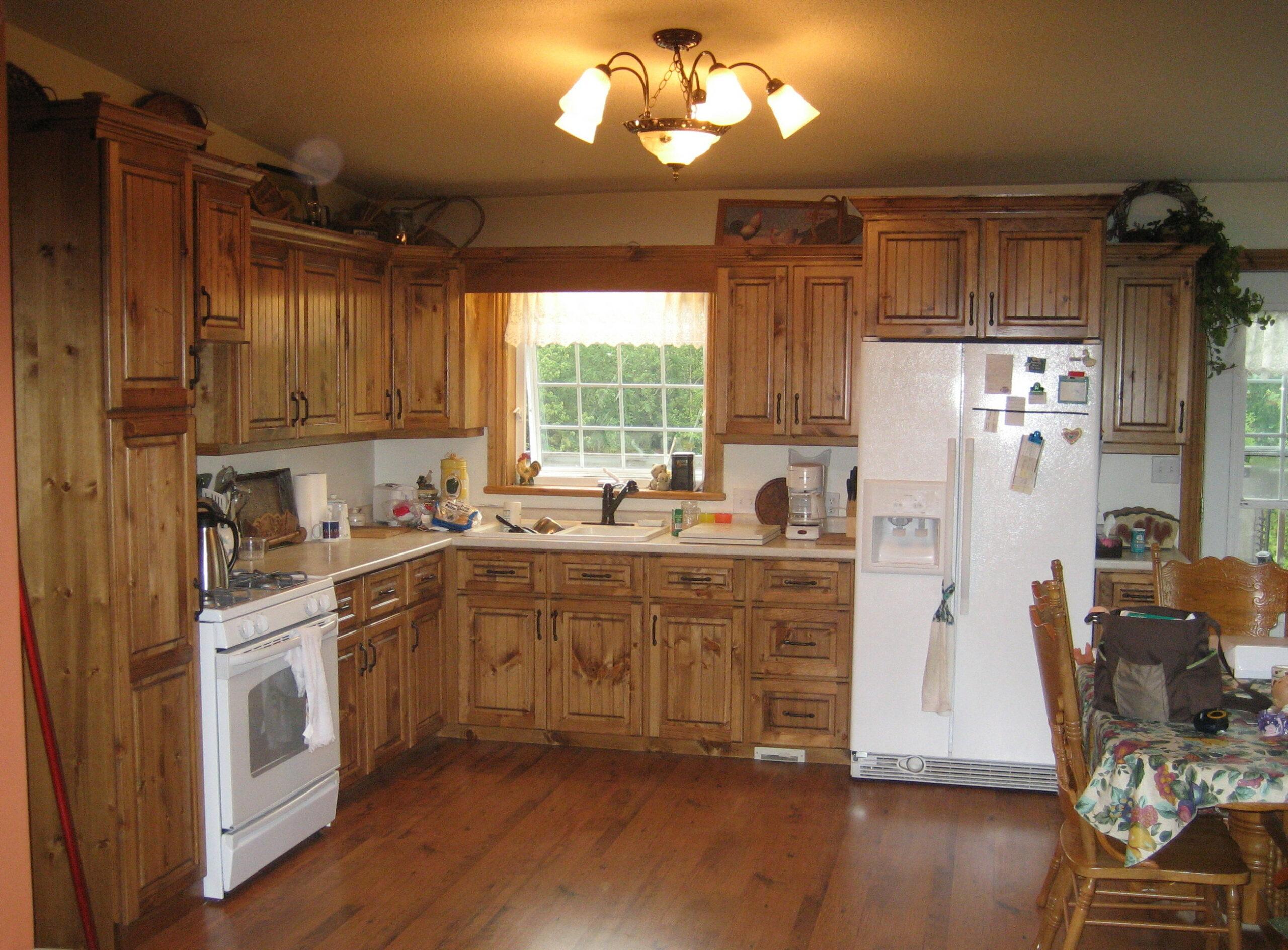 Pine kitchen cupboards