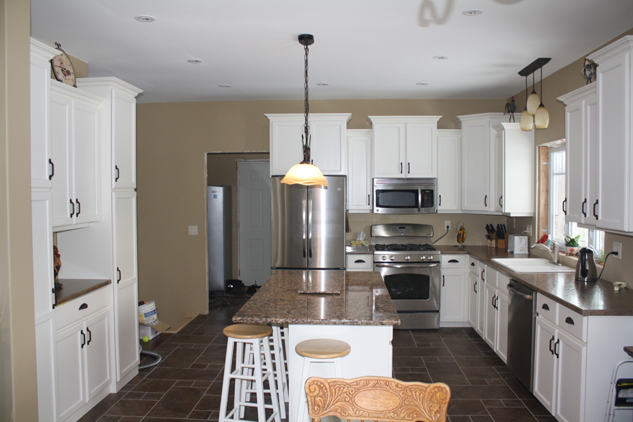 white painted kitchen with island