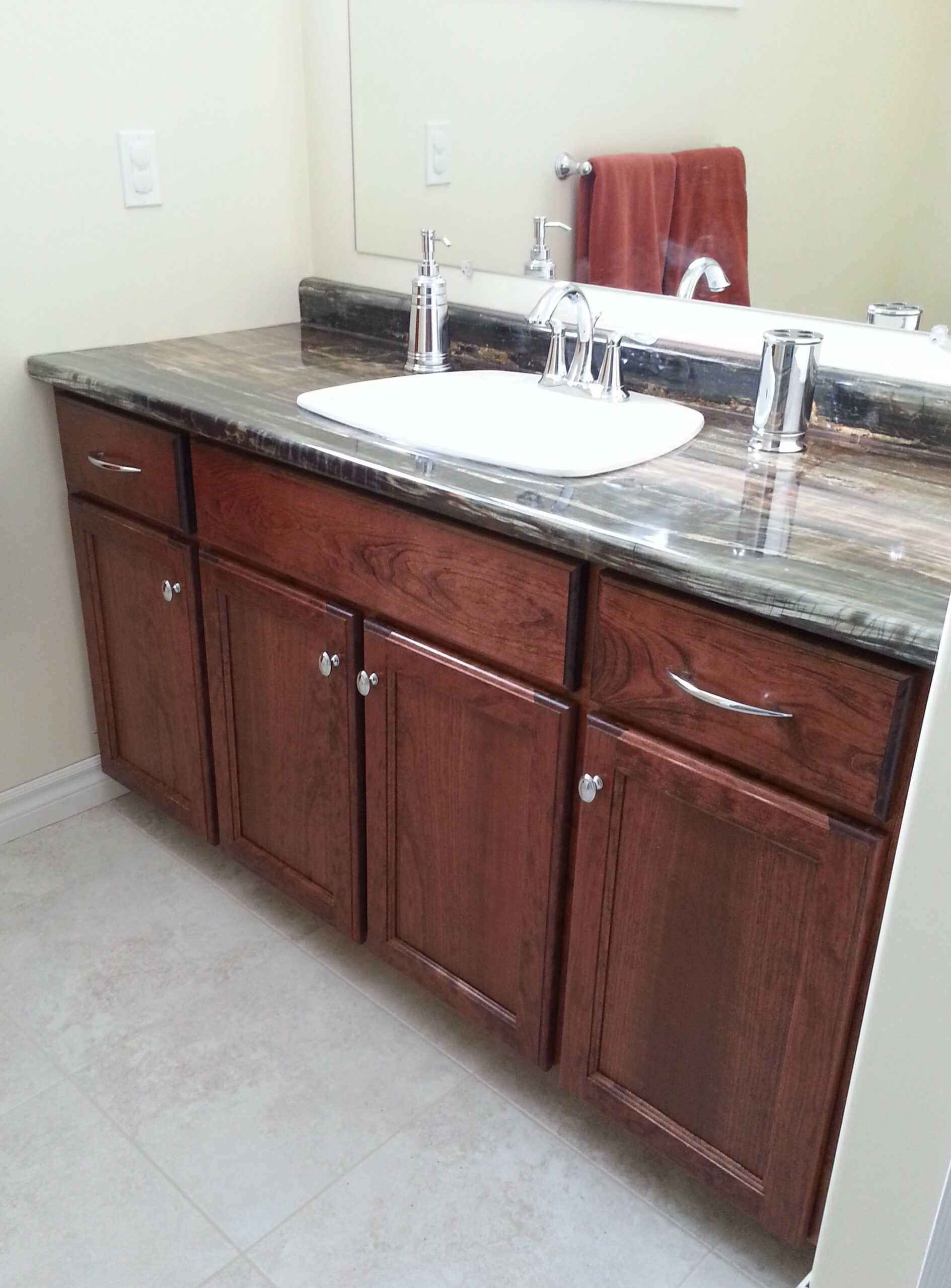 Cherry wood bathroom vanity