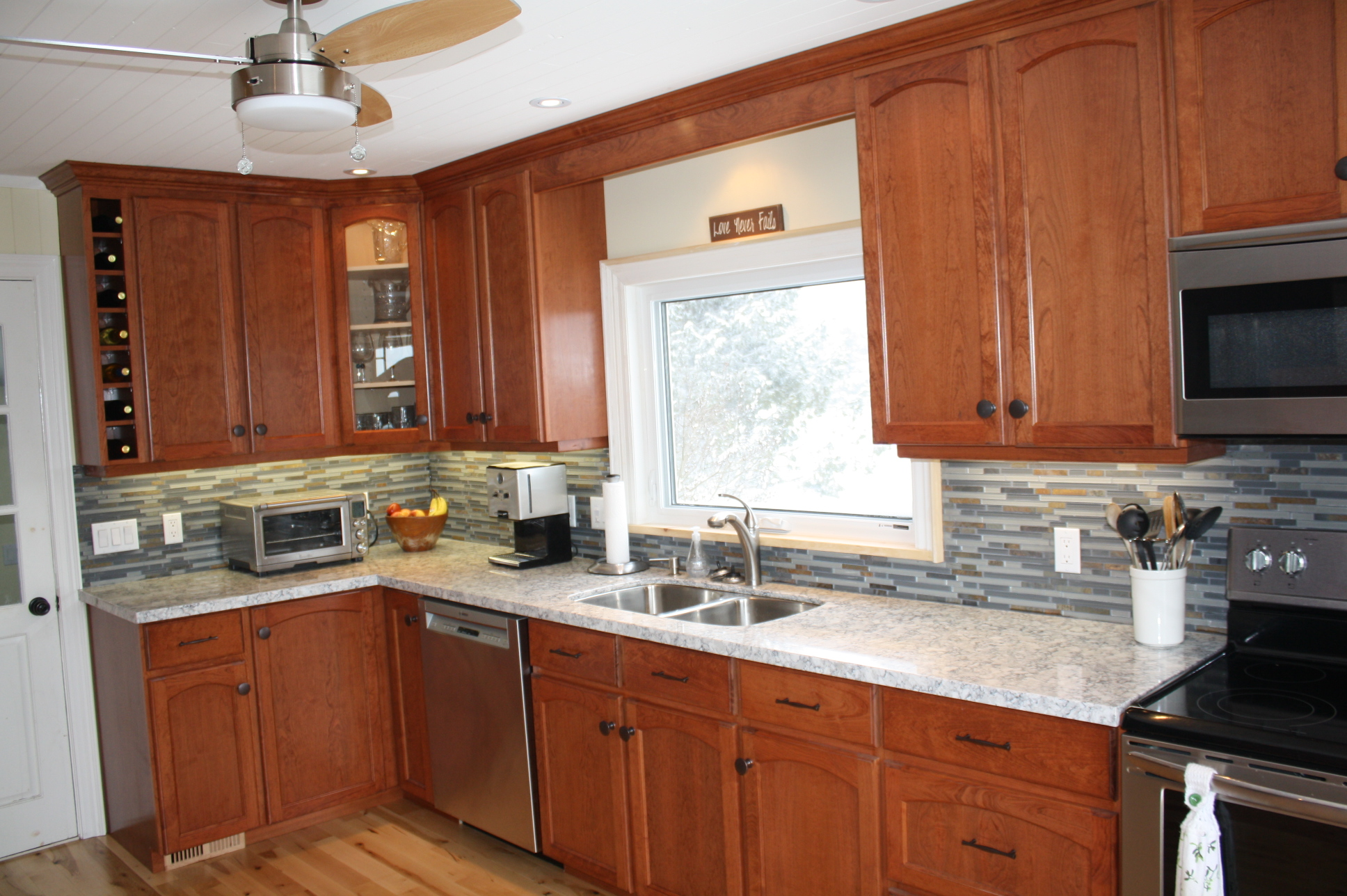 Cherry kitchen cupboards