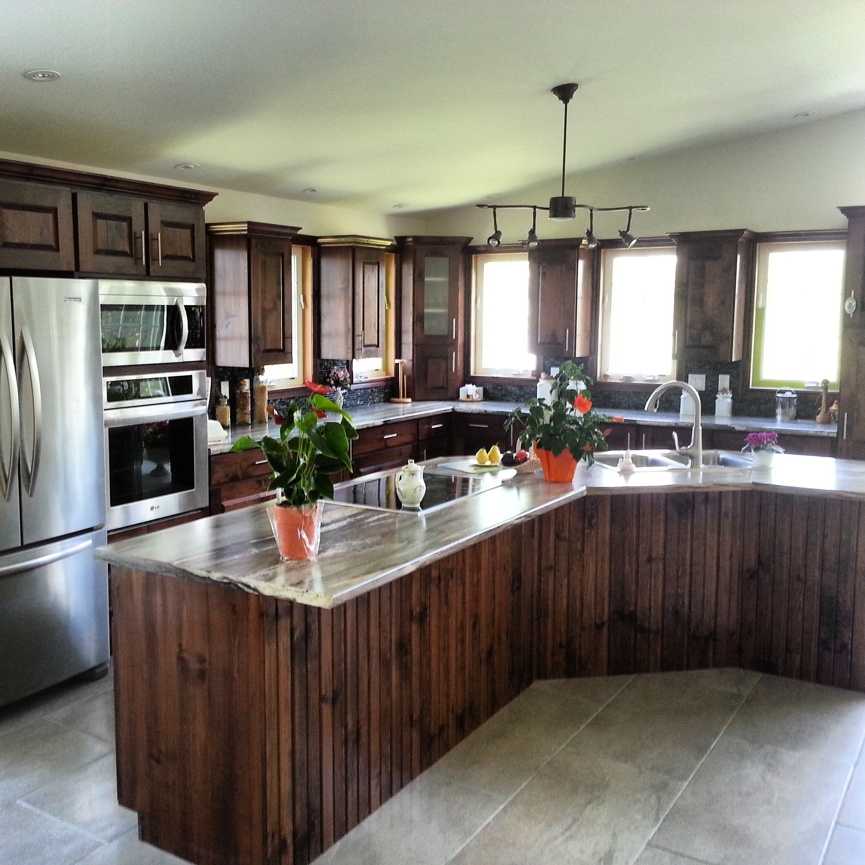 Pine dark kitchen cupboards